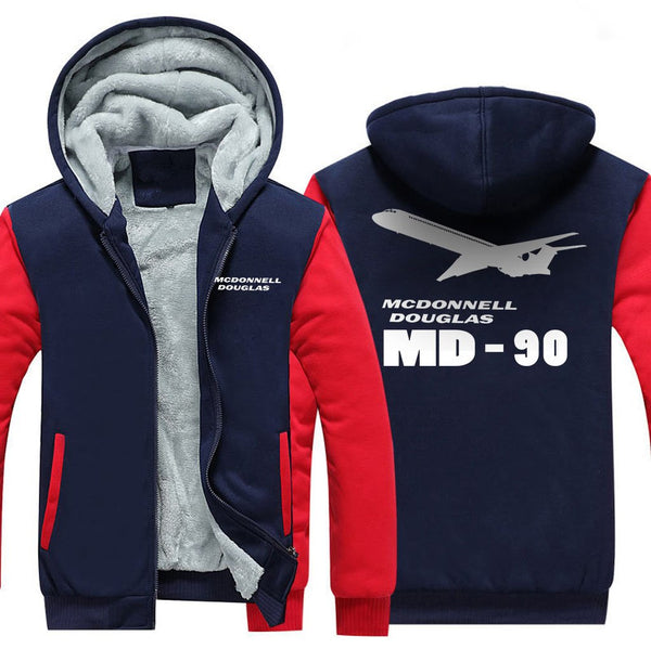 MCDONNELL DOUGLAS MD 90 DESIGNED ZIPPER SWEATER - Red / S -