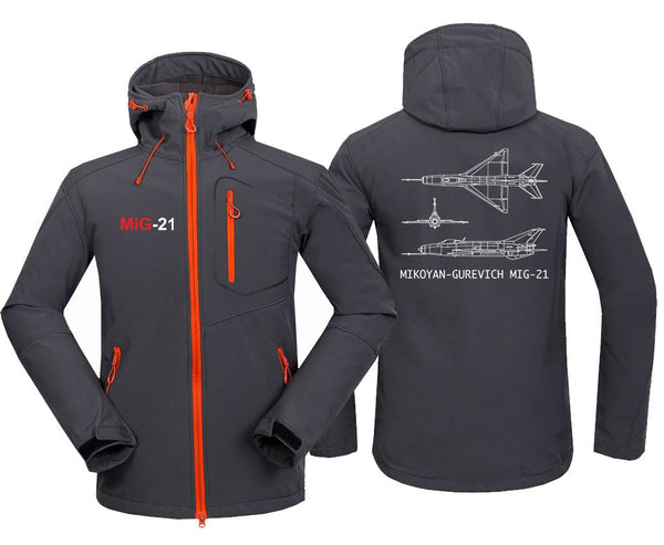 MIG 21 DESIGNED FLEECE - Dark Gray / S - Hoodie Jacket