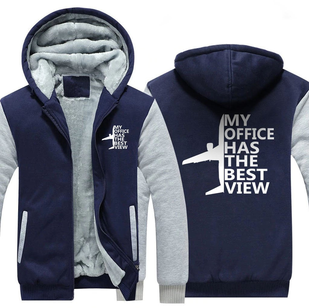 MY OFFICE HAS THE BEST VIEW ZIPPER SWEATER - Blue / S -