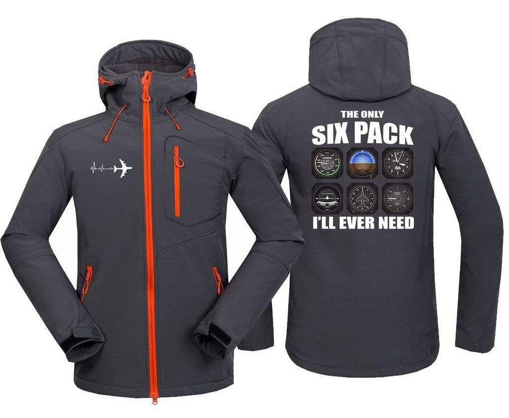 AIRPLANE LOVER Hoodie Jacket Dark Gray / S ONLY SIX PACK I'LL EVER NEED
