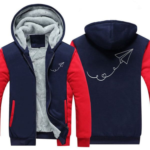 PAPER PLANE DESIGNED ZIPPER SWEATER - Red / S - Hoodies