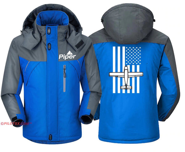 PIPER WITH FLAG DESIGNED WINDBREAKER - Blue Gray / S -