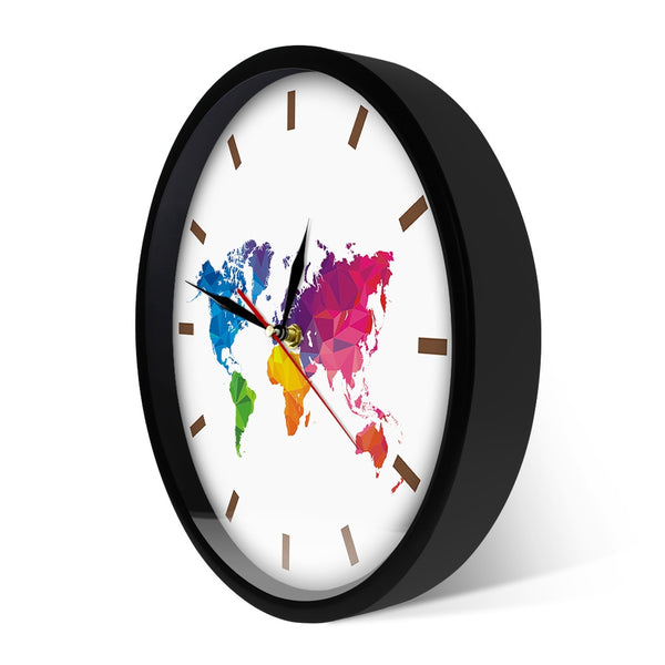 Unique Colorful World Map Wall Clock