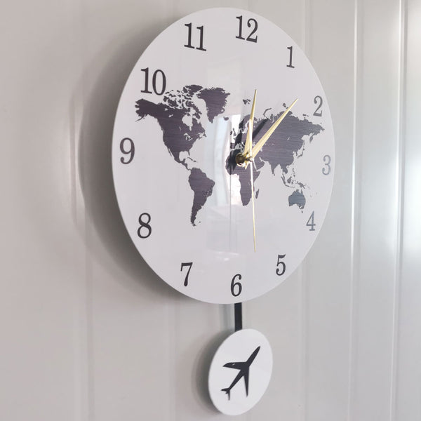 Earth Globe World Map Pendulum Clock