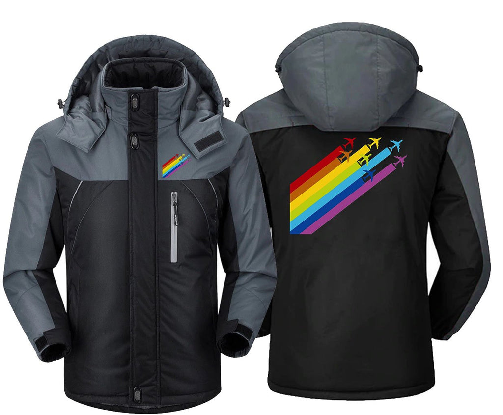 RAINBOW CHEMTRAILS FOR AIRPLANES WINDBREAKER JACKET - Black