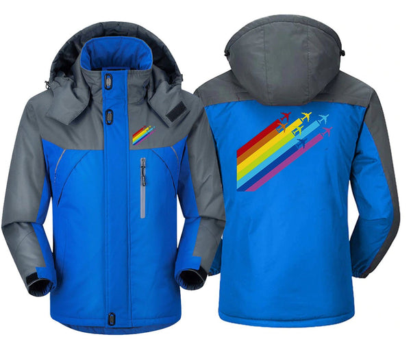 RAINBOW CHEMTRAILS FOR AIRPLANES WINDBREAKER JACKET - Blue