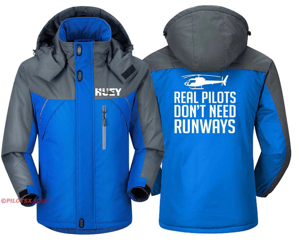 REAL HELICOPTER PILOT DON'T NEED RUNWAYS - Blue Gray / S -