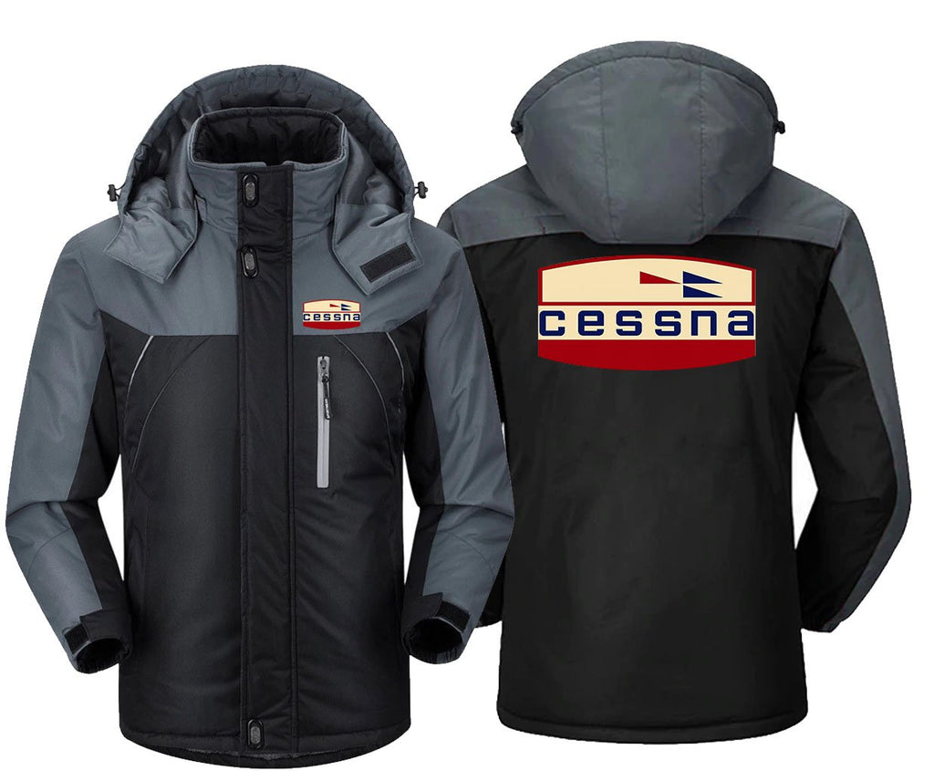 RETRO CESSNA LOGO DESIGNED WINDBREAKER JACKET - Black Gray /