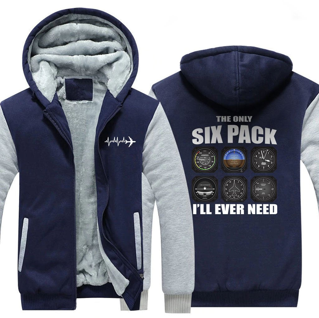 THE ONLY SIX PACK I'LL EVER NEED ZIPPER SWEATER - Blue / S -