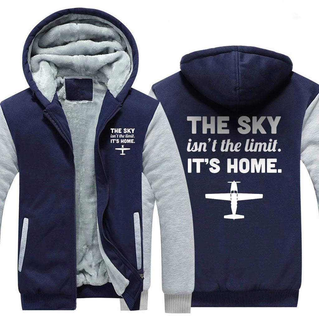 THE SKY ISN'T THE LIMIT. IT'S HOME ZIPPER SWEATER - Blue / S