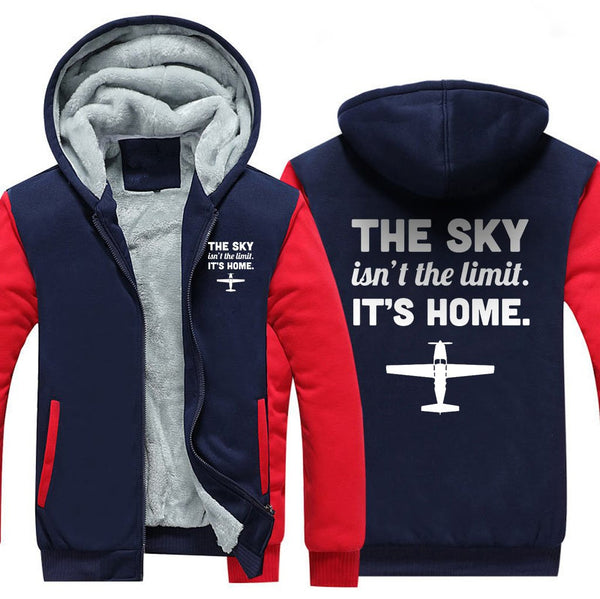 THE SKY ISN'T THE LIMIT. IT'S HOME ZIPPER SWEATER - Red / S