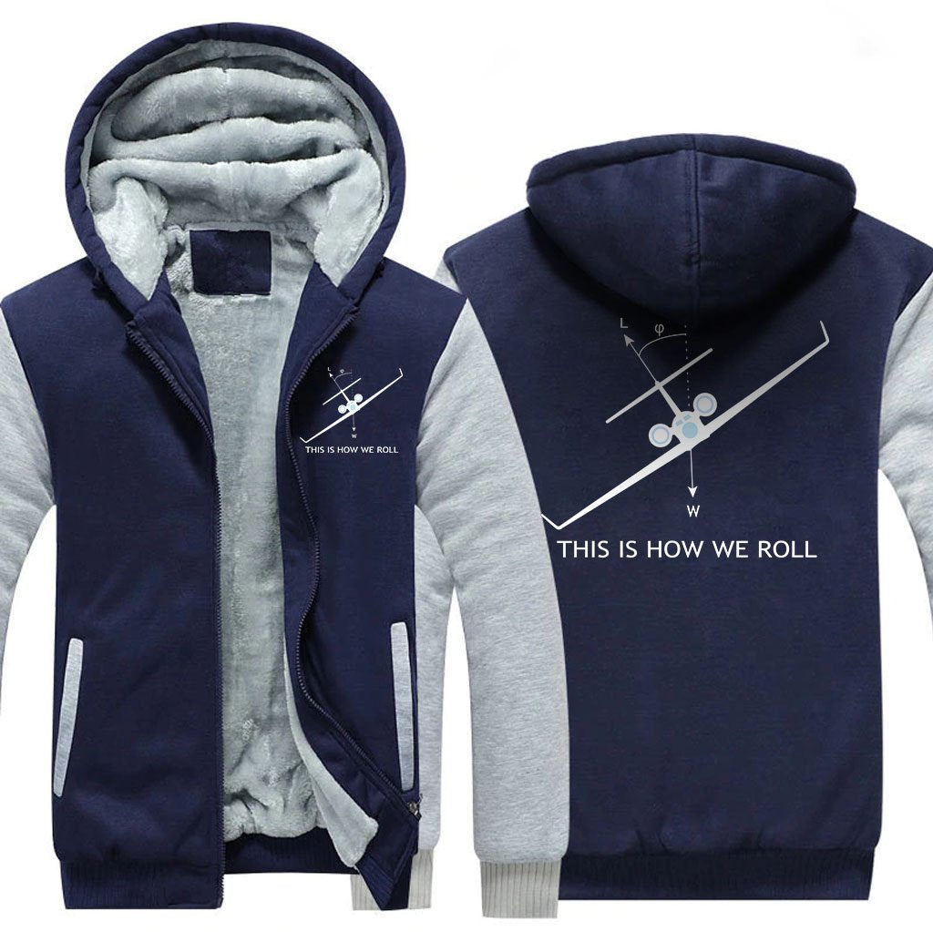 THIS IS HOW WE ROLL DESIGNED ZIPPER SWEATER - Blue / S -