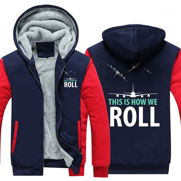 THIS IS HOW WE ROLL ZIPPER SWEATER - Red / S - Hoodies