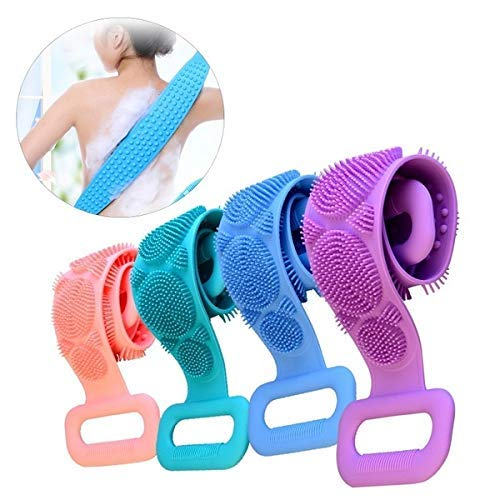 Multicolor stretchable Silicone body brush scrubber belt with handles