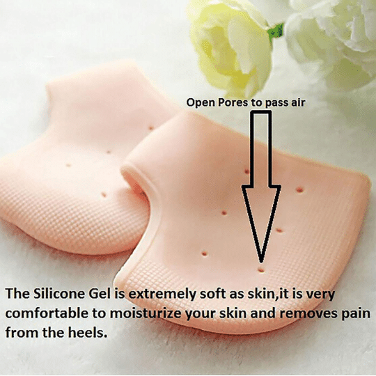 Gel heel socks cups protectors absorbs shocks & helps in immediately relieving uncomfortable heel pain. These are very soft & holes let you breathe & moisturize your skin