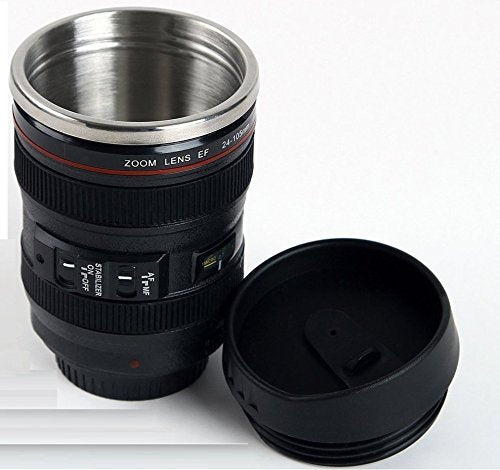 Plastic Camera Lens Shaped Steel Insulated Coffee Mug With Lid, 350ml (Black)