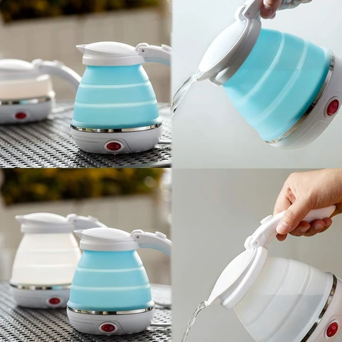 silicone Foldable Collapsible Electric Kettle for Travel with Sleek Design for camping Traveling
