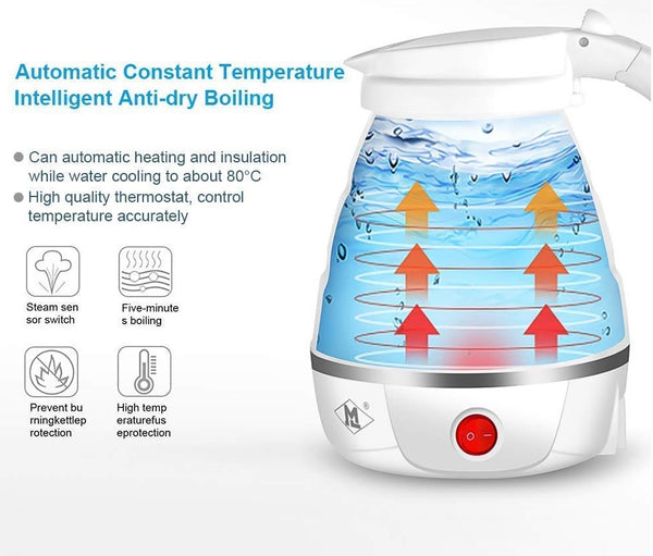 Best Portable silicone folding Collapsible Electric Kettle with Water Jugfor Travel with Sleek Design for camping Traveling