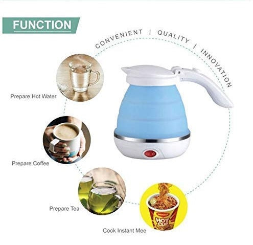 silicone Foldable Collapsible Electric Kettle for Travel with Sleek Design for camping Traveling with dry run protection without water