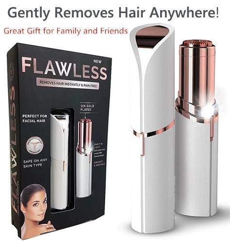 Flawless Portable USB Electric Painless Facial Hair Remover Trimmers With Led Light for Finishing Touch on face Without Battery for Women
