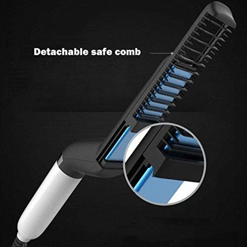 Men's Portable, Quick & Efficient Electric Beard & Hair Straightener Massage, Comb & Syler with Anti-Scald & Anti Static Feature, Electric Modeling Straightening Comb
