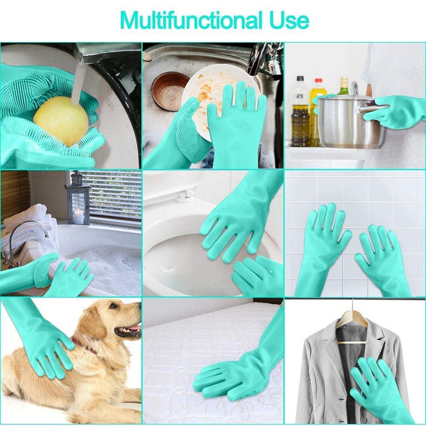 Mutlifunctional Silicone Scrubber Gloves for both hands for cleaning fruits vegetables plate dish washing bedroom bathroom