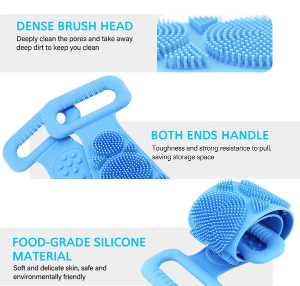 Multicolor stretchable Silicone body brush scrubber belt with dense brush head made of food grade silicone material