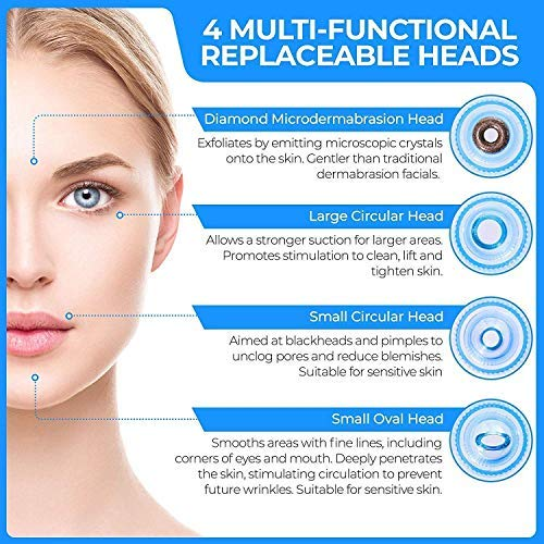 Cordless Multi-function Acne Pimple Pore Cleaning Blackhead Whitehead Extractor/Remover Vacuum Action with 4 changeable Suction Heads for Men/Women