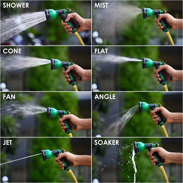 Garden Hose Nozzle has 8 Adjustable Watering Patterns: Center, Cone, and Stream, Mist, Vertical, Flat, Full and Shower