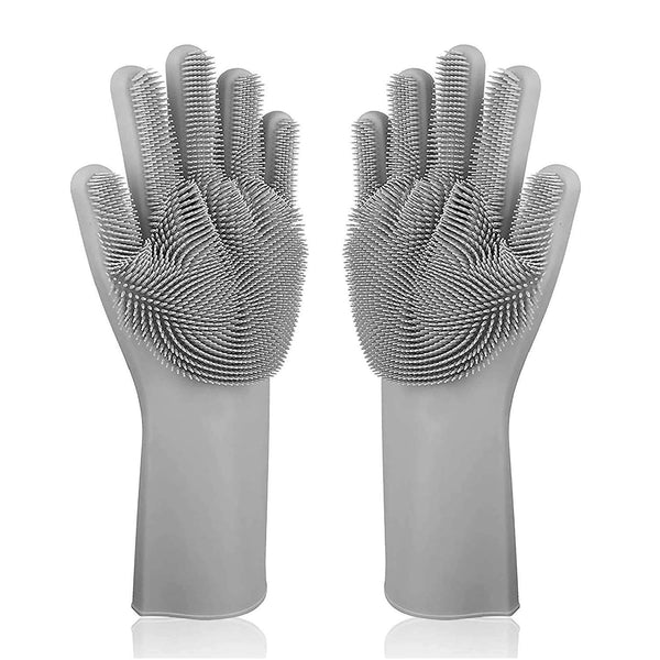 High quality bristles in Magic Silicone dishwashing gloves for Kitchen, Bedroom, latex free at best price in India Extra Large Size