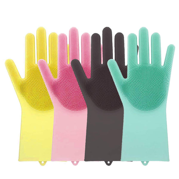 Silicone gloves with Srubber & soft Bristles multicolor red green yello pink blue