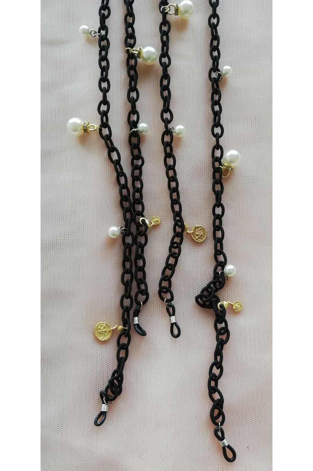 FABRIC ENTWINED M PEARLY EYE WEAR CHAINS
