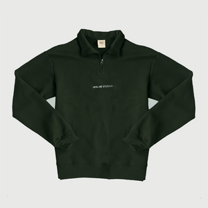 Peace and Progress Quarter-zip in Pine - Urbane Studios