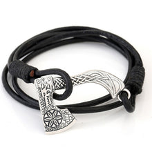 Load image into Gallery viewer, Teamer Men's Jewelry Axe Wrap Viking Bracelet Men's Leather Accessories Silver Color Hatchet Handmade Pirate Bracelet For Male