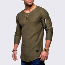 Load image into Gallery viewer, New Spring and Summer Men's T-shirt Men's Long Sleeve Cotton Top T-Shirt Bodybuilding T-shirt Men's folding T-shirt