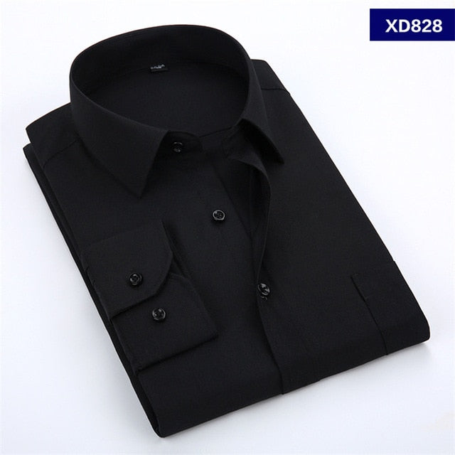 New men's shirt solid color large size shirt male business casual long-sleeved shirt