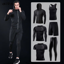 Load image into Gallery viewer, Sportswear Man Compression Sport Suits Hooded Reflective Tracksuits Sports Joggers Training Fitness Gym Clothes Running Set Men