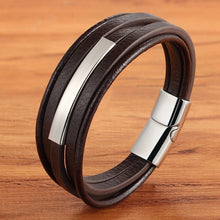 Load image into Gallery viewer, Geometric Stainless Steel Accessories Combination Leather Men's Bracelet Classic Multi-layer Luxury Style For Handsome Boys Gift