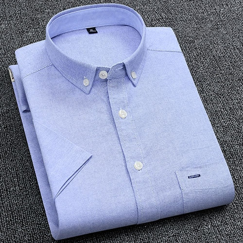 Men's Summer Pure Cotton Oxford Shirts Casual Slim Fit Design Short Sleeve Fashion Male Blouse
