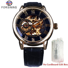 Load image into Gallery viewer, 3D Logo Design Hollow Engraving Case Black Gold Leather Skeleton Watches Men Heren Horloge
