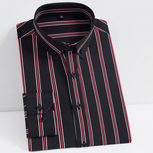 Load image into Gallery viewer, Men's Non-iron Stretch Casual Striped Dress Shirts Single Patch Pocket Long Sleeve Standard-fit Youthful Button-down Tops Shirt