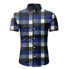 Load image into Gallery viewer, Classic Brand Red Plaid Shirt Men Short Sleeve Dress Casual Button Down Shirt Office Work Wear