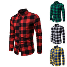 Load image into Gallery viewer, New Autumn Winter Plaid Shirt Red Flannel Shirt Men Long Sleeve Chemise Homme Cotton Mens Shirts Chic