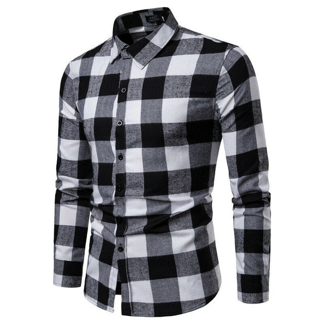 New Autumn Winter Plaid Shirt Red Flannel Shirt Men Long Sleeve Chemise Homme Cotton Mens Shirts Chic