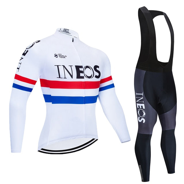 INEOS Long Sleeve Cycling Clothing Set Jersey Men Suit Breathable Outdoor Sports Bike Padded Clothes