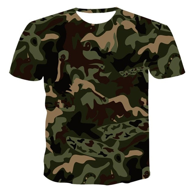 New 3D T-Shirt Men Summer Casual Camouflage Pattern Clothing T-shirt Quick Dry 3D Printed T-shirt