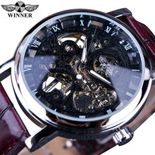 Load image into Gallery viewer, Winner Luxury Transparent Gold Case Casual Design Brown Leather Strap Mens Watches Luxury Brand Mechanical Skeleton Watch