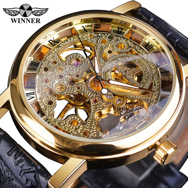 Winner Luxury Transparent Gold Case Casual Design Brown Leather Strap Mens Watches Luxury Brand Mechanical Skeleton Watch