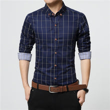 Load image into Gallery viewer, ERIDANUS 2020 Men's Plaid Cotton Dress Shirts Male High Quality Long Sleeve Slim Fit Business Casual Shirt Plus Size 5XL MCL087