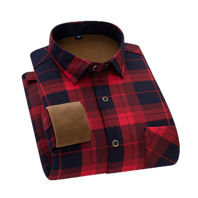 Aoliwen Brand Men's winter warm long-sleeved shirts flannel plaid shirts thickened warm and comfortable shirts large size shirts
